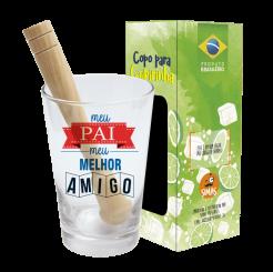 Copo Drink - Kit Caipirinha 350ml + Soquete + cx - Pai Melhor Amigo