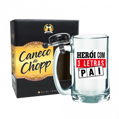 Caneco de Chopp Com Campainha 340ml + cx - Pai Heroi 3 Letras