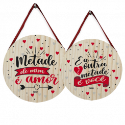 KIT C/ 2 QUADROSDECORATIVOS REDONDO - METADE DE MIM