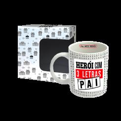 Caneca Pequena 120ml + cx - Pai Heroi 3 Letras