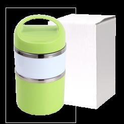 Marmita de Inox  Verde Com Alça Fixa  2 Compartimentos
