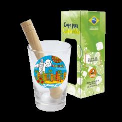 COPO DRINK KIT CAIPIRINHA 350ML + SOQUETE + CX - BALNEÃ?RIO VIBRANTE