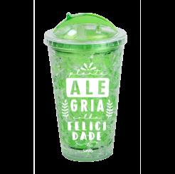 Copo Canudo Gel Retrátil  Verde - Alegria Colhe Felicidade
