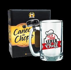 Caneca de Chopp Com Campainha 340ml + cx - Pai Super Cheff