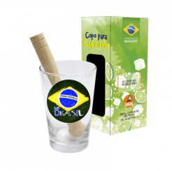 Copo Drink - Kit Caipirinha 350ml + Soquete - cx - Brasil Estilizado