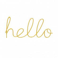 Hello Dourado Em Metal
