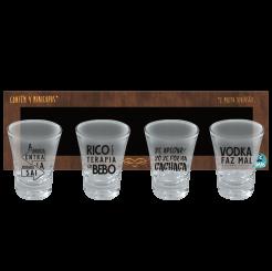 Copo Shot Kit Com 4un 60ml -  Papo de Bar