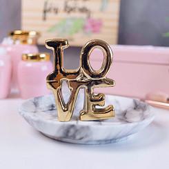Porta Bijoux Love Dourado Em Cerâmica