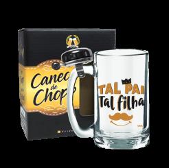 Caneca de Chopp Com Campainha 340ml + cx - Tal Pai Tal Filha