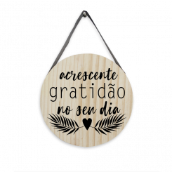 Quadro Decorativo Redondo - Acrescente Gratidão No Seu Dia