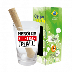 Copo Drink Kit Caipirinha 350ml + Soquete + cx -  Pai Heroi 3 Letras