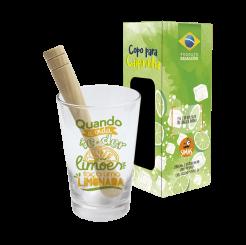Copo Drink Kit Caipirinha 350ml + Soquete + cx -  Faça Limonada